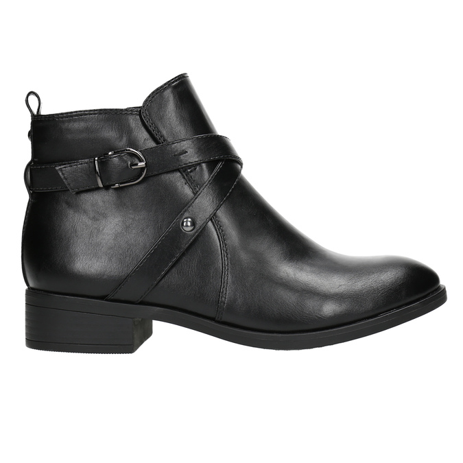 Ladies' ankle high boots with buckles bata, black , 591-6620 - 15
