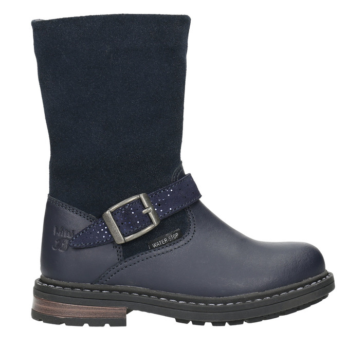Girls' Leather High Boots mini-b, blue , 394-9194 - 15