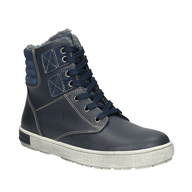 Children's Leather Ankle Boots mini-b, blue , 494-9655 - 13
