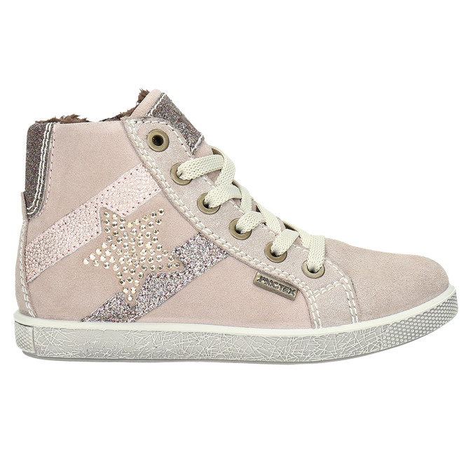 Children's leather ankle sneakers mini-b, pink , 223-5170 - 15