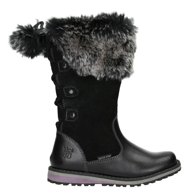 Girls' Leather High Boots with Fleece mini-b, black , 394-6193 - 26