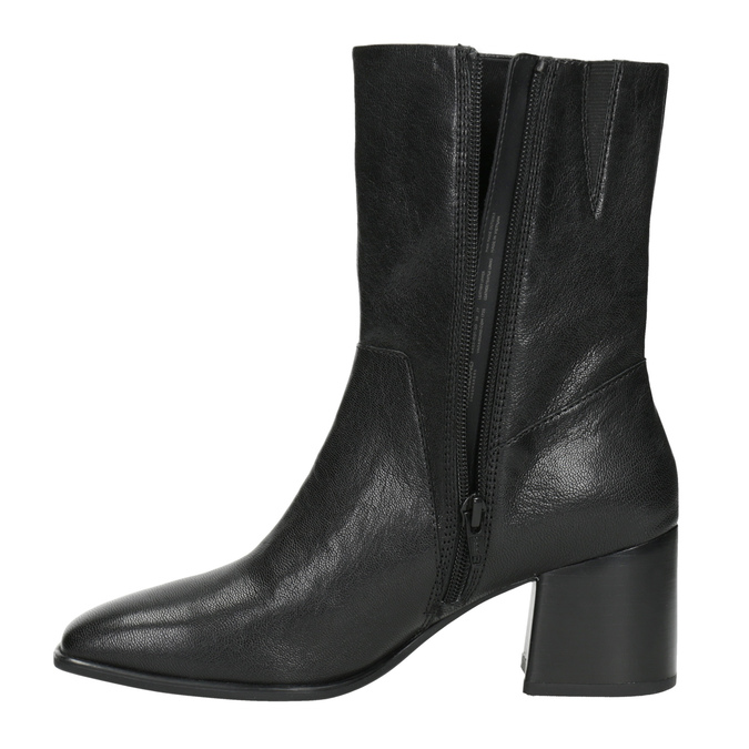 Ladies' Leather Low-Heeled High Boots vagabond, black , 716-6039 - 15