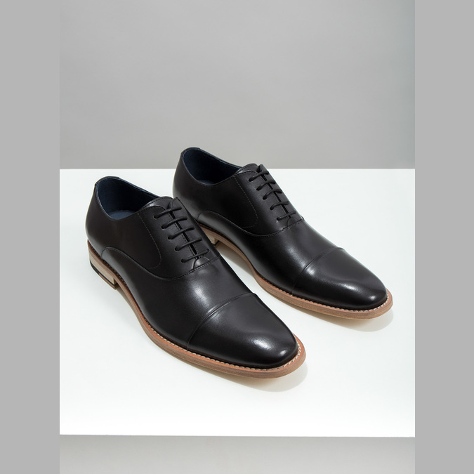 All-leather Oxford shoes bata, black , 824-6414 - 18