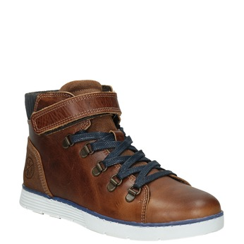 Children's Leather High Top Shoes, brown , 494-3024 - 13