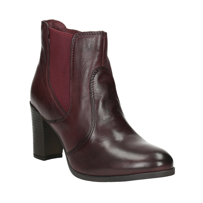 Leather Ankle Boot with Heel bata, red , 796-5647 - 13