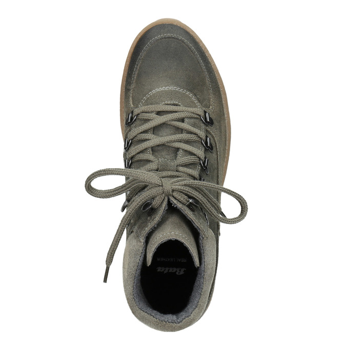 Ladies' leather flatform shoes bata, gray , 596-2673 - 15