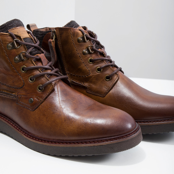 Leather Ankle Boots bata, brown , 896-3675 - 14