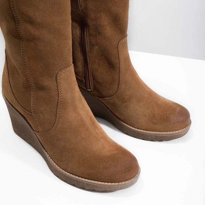 Brown Leather High Boots bata, brown , 793-4607 - 14
