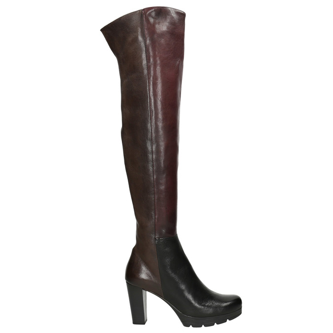 Ladies' heeled leather high boots bata, brown , 796-2651 - 26