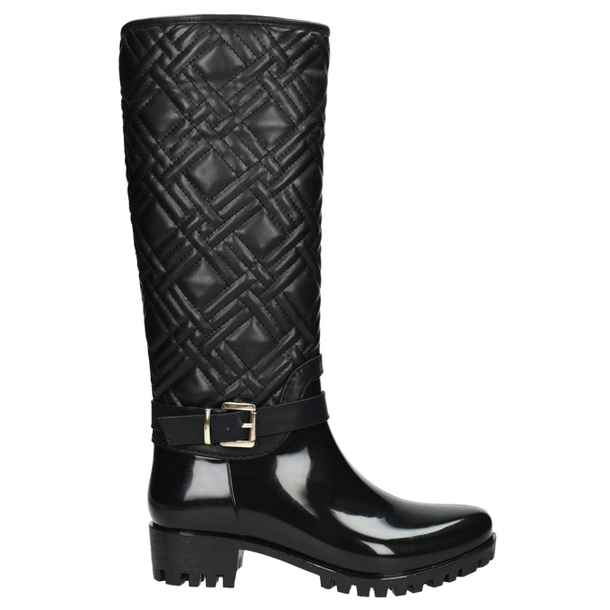 Ladies' Wellington Boots with Quilting bata, black , 592-6401 - 15