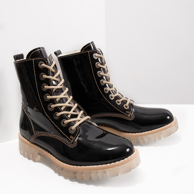 Patent leather ankle boots with massive sole weinbrenner, black , 598-6604 - 18