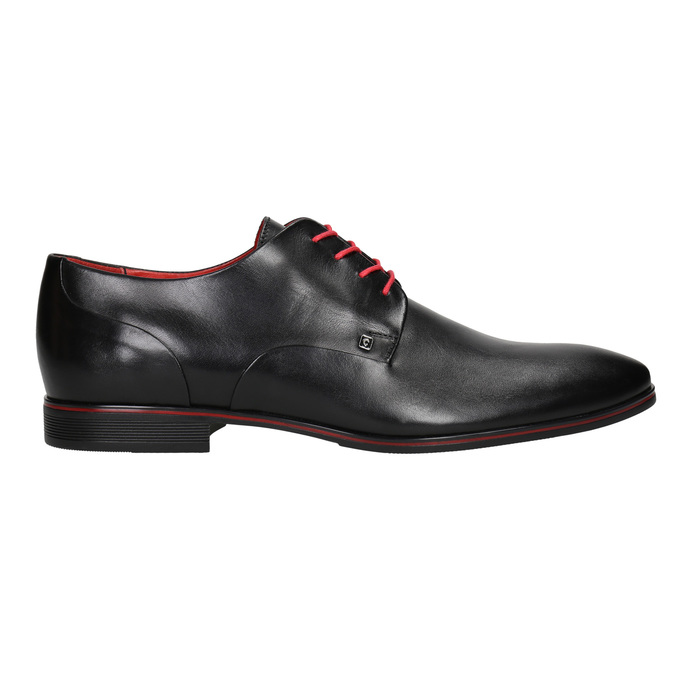 Leather shoes with red details conhpol, black , 824-6993 - 26