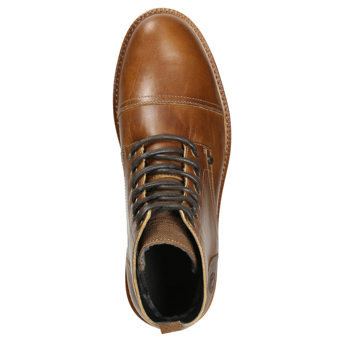 Brown Leather Winter Boots bata, brown , 896-4667 - 26