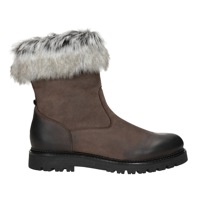 Leather ladies' boots with fur bata, brown , 594-4657 - 26