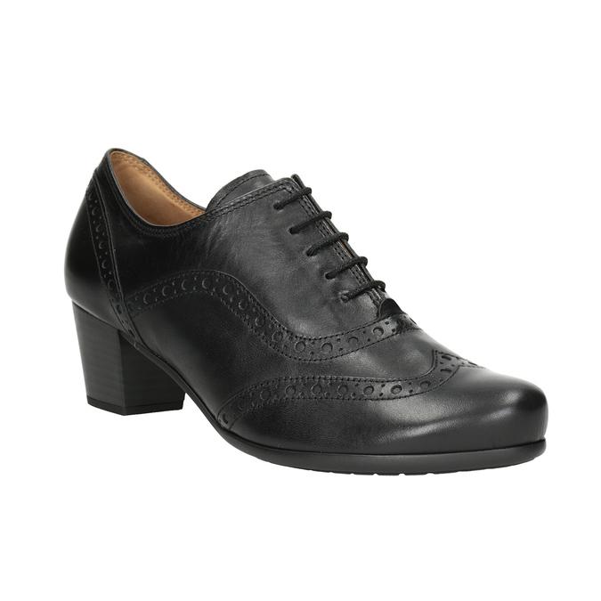 Leather heeled shoes gabor, black , 624-6016 - 13