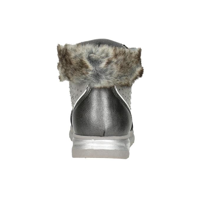 Girls' silver winter boots mini-b, gray , 329-2287 - 16