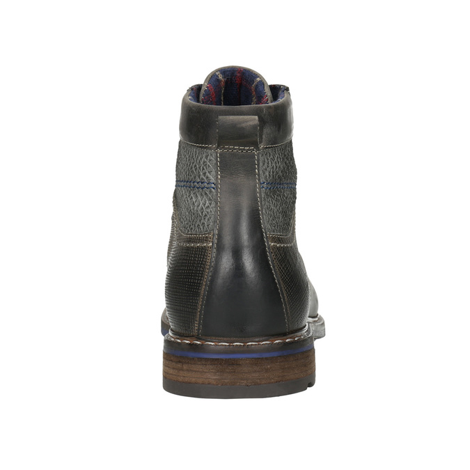 Leather Ankle Boots with Blue Detailing bata, gray , 896-2679 - 17