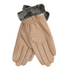 Ladies' beige leather gloves bata, beige , 904-4112 - 13