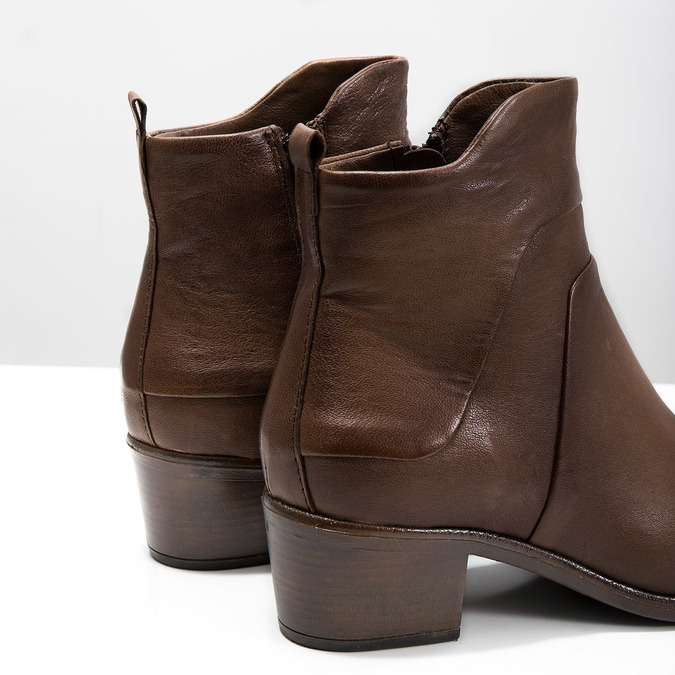 High ankle boots with stable heel bata, brown , 696-4654 - 14