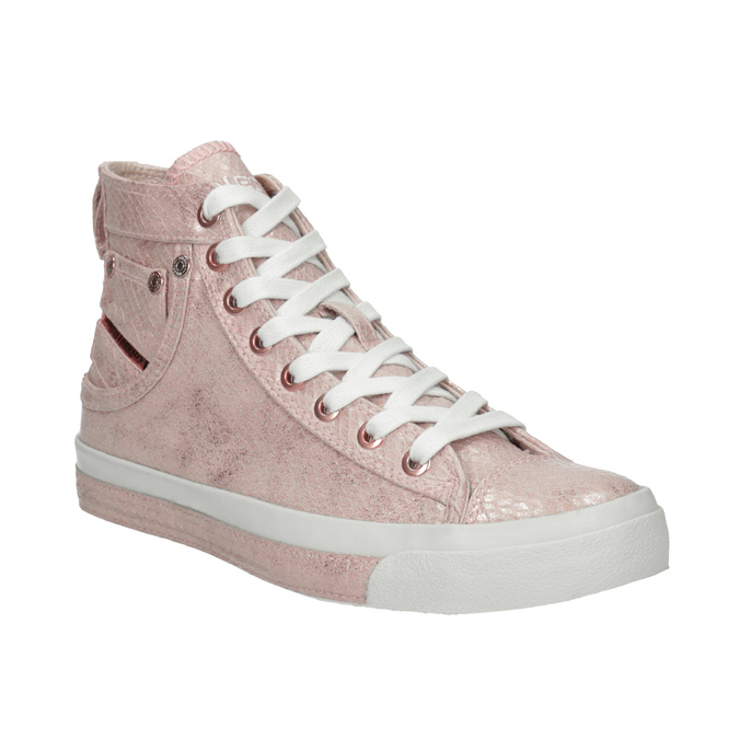 Ladies' pink ankle sneakers diesel, red , 501-5743 - 13