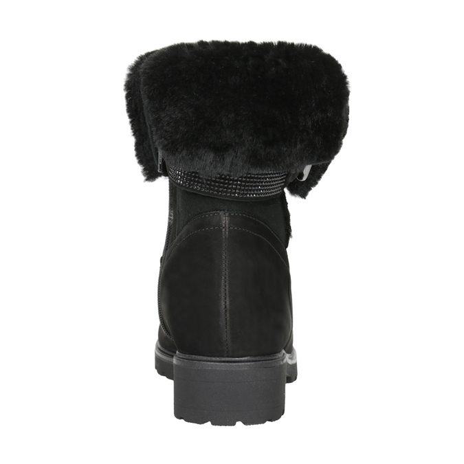 Leather Ankle Boots with Fur gabor, black , 616-6009 - 16