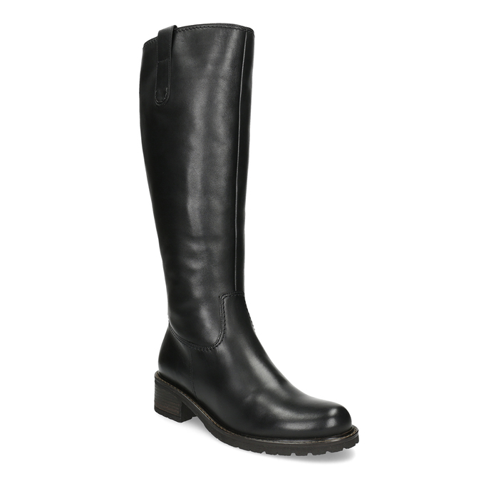 Ladies' Black Leather High Boots gabor, black , 694-6139 - 13
