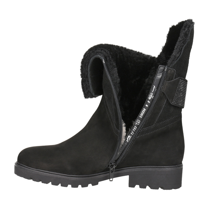 Leather Ankle Boots with Fur gabor, black , 616-6009 - 15