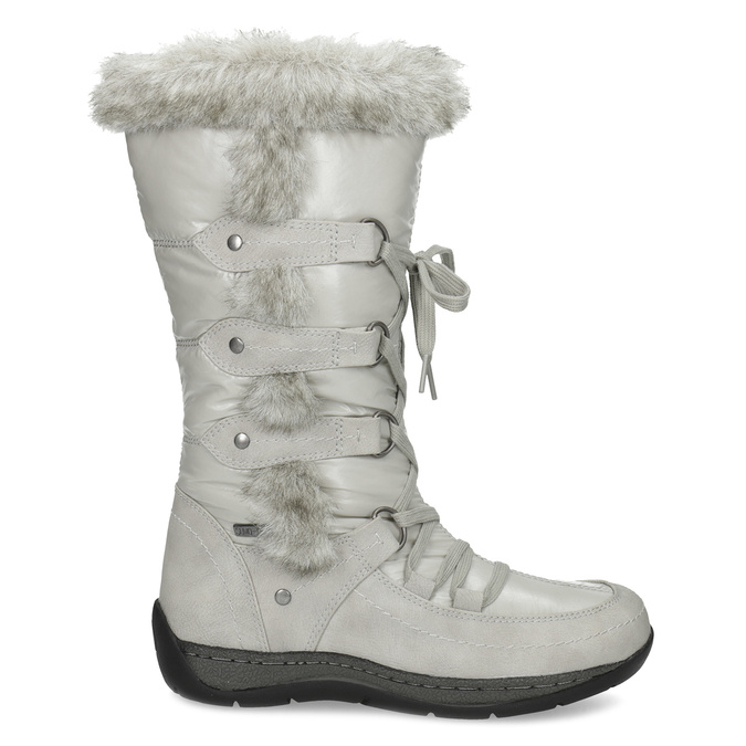 Winter snow boots with fur bata, gray , 599-8618 - 19