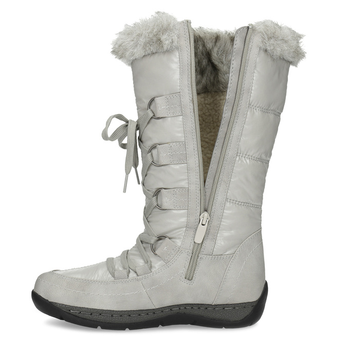 Winter snow boots with fur bata, gray , 599-8618 - 17
