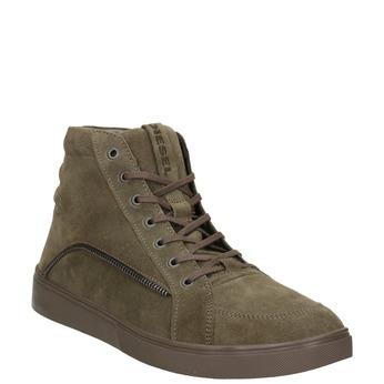 Brushed leather ankle sneakers diesel, brown , 803-4629 - 13