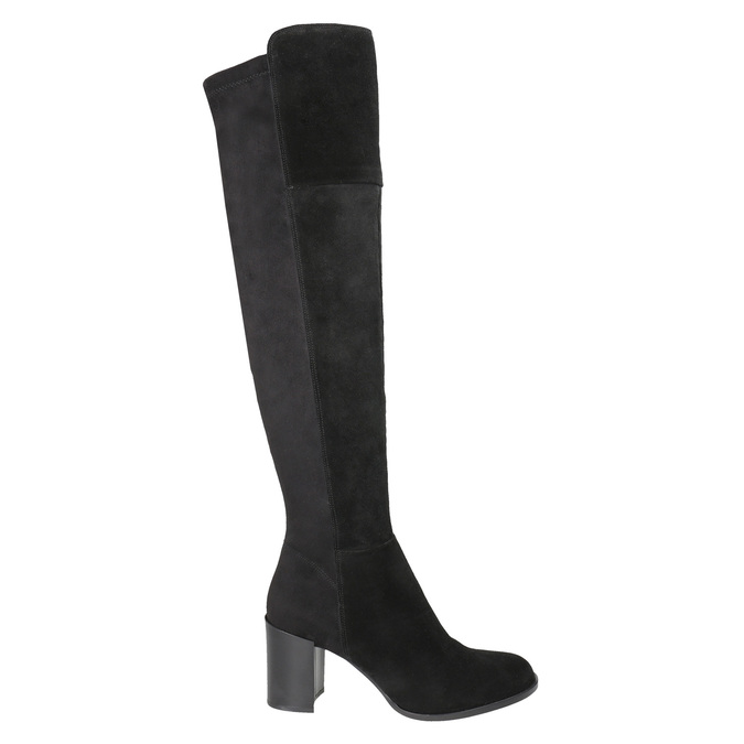 Ladies' Brushed Leather High Boots with Heel bata, black , 693-6664 - 26