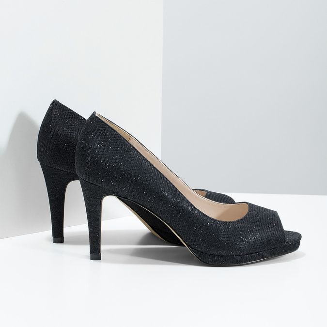 Peep-Toe Pumps bata, black , 729-6610 - 16