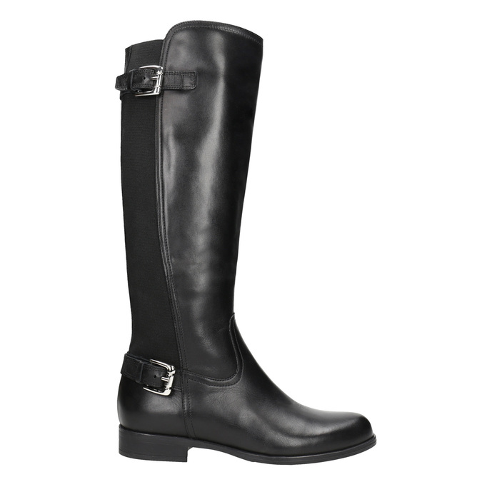 Ladies' leather high boots with buckles bata, black , 594-6664 - 26