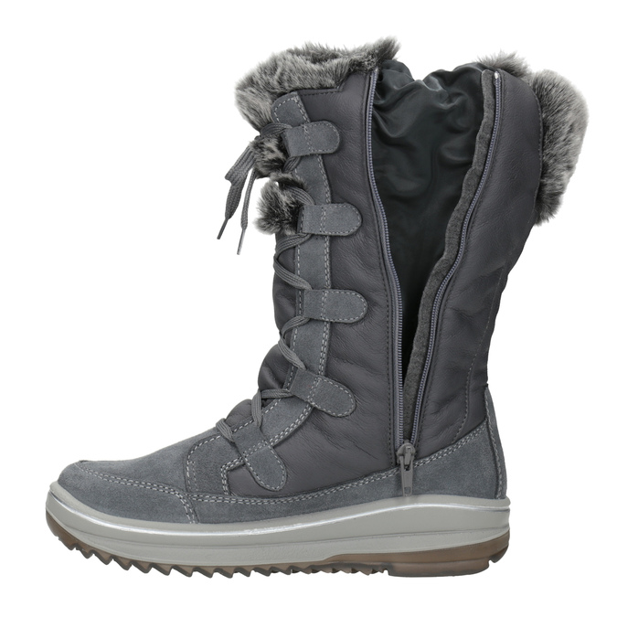Ladies' winter boots with artificial fur weinbrenner, gray , 593-2616 - 15