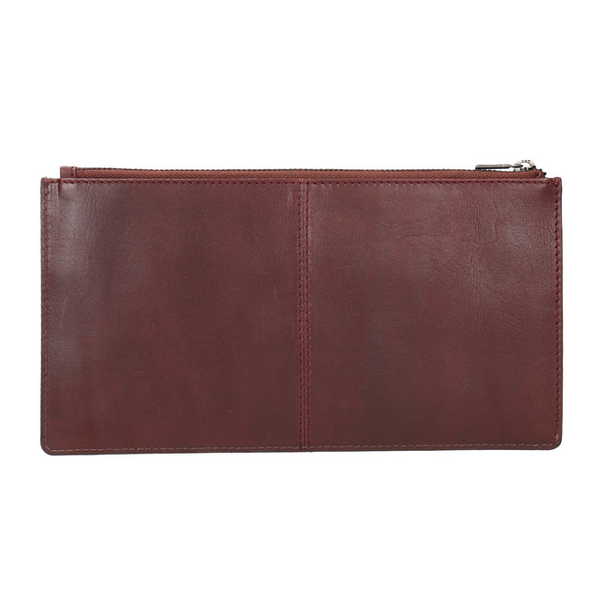 Leather clutch with stitching bata, red , 966-5285 - 15