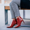 Red leather high ankle boots bata, red , 794-5651 - 18
