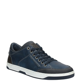 Blue leather sneakers bata, blue , 846-9927 - 13