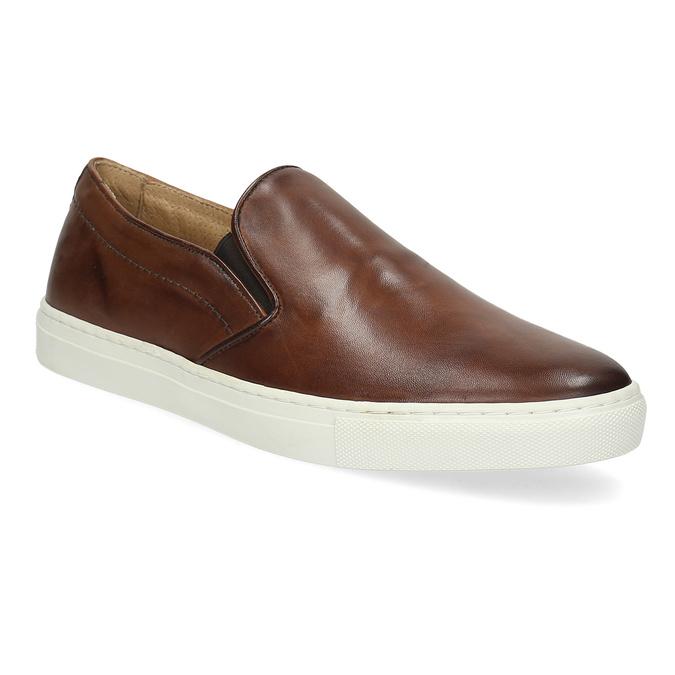 Men's Leather Slip-Ons bata, brown , 836-4601 - 13