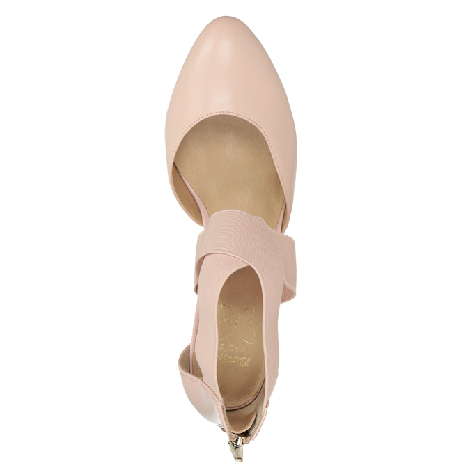 Pinkish cream-colored leather pumps insolia, pink , 624-8643 - 15