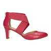Pink leather pumps insolia, red , 624-5643 - 26