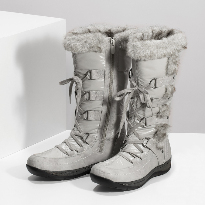 Winter snow boots with fur bata, gray , 599-8618 - 16