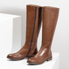 Brown Leather High Boots bata, brown , 594-4637 - 16