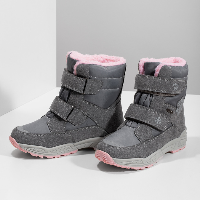 Girls' Snow Boots with Fleece mini-b, gray , 291-2625 - 16