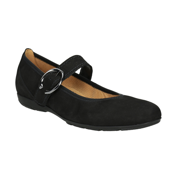 Leather Mary Jane Flats gabor, black , 514-6118 - 13